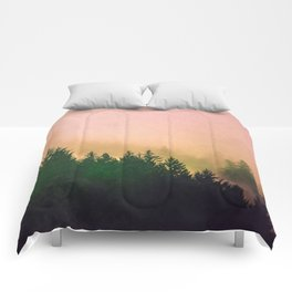 Cascadia Green Trees and Sunset Comforters