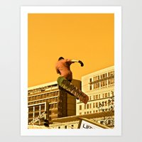 snowboarding Art Prints featuring City Snowboarding by Jphotoz