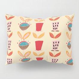 Mid- Century Modern Beige Flowers Pattern Pillow Sham