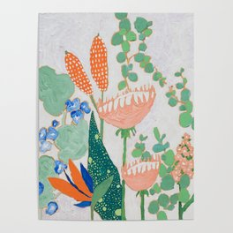 Proteas and Birds of Paradise Painting Poster