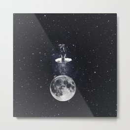 Ballerina on the moon. Metal Print