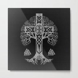 Tree of life  -Yggdrasil  and Celtic Cross Metal Print