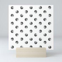 Lunar Moon - white Mini Art Print