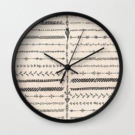 Vintage white modern black bohemian aztec pattern Wall Clock