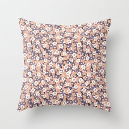 Ditsy Daisy Floral Vector Pattern Hand Drawn Throw Pillow