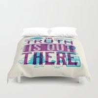 bigfoot Duvet Covers featuring The Truth is Out There by Josh Ln