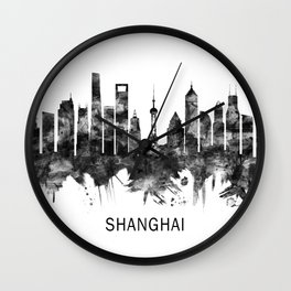 Shanghai China Skyline BW Wall Clock