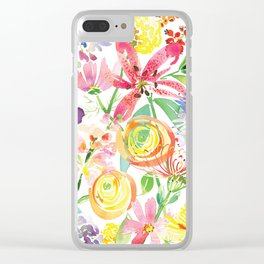 Bold Florals Clear iPhone Case
