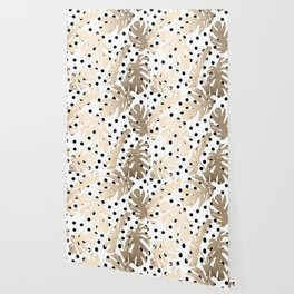 Simply Tropical White Gold Sands Palm Leaves on Dots Wallpaper