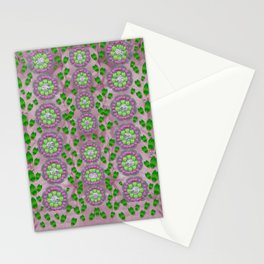 ivy and  holm-oak with fantasy meditative orchid flowers Stationery Cards