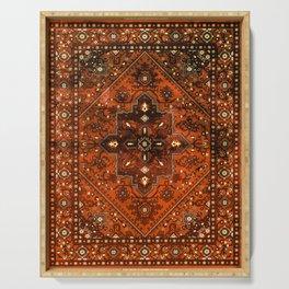 N151 - Orange Oriental Vintage Traditional Moroccan Style Artwork Serving Tray
