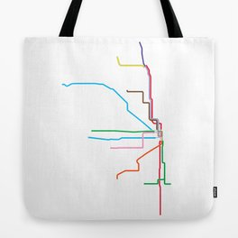 Chicago CTA Map, Chicago Train Map Art, Chicago L Train Map, Chicago Art, Chicago Wall Art, Map Art Tote Bag