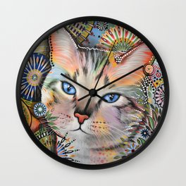 Aslan ... Abstract cat art painting, by Amy Giacomelli Wall Clock