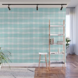 Watercolor Brushstroke Plaid Pattern Pantone Limpet Shell Blue 13-4810 Wall Mural