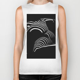 0758-AR BW Abstract Art Nude Striped Biker Tank
