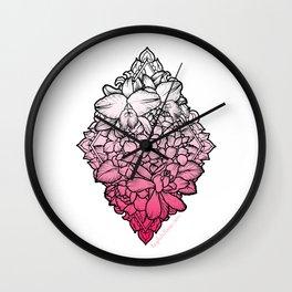 Flowers in a Diamond Wall Clock