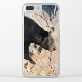 Black bear on a cliff in Jasper National Park Clear iPhone Case