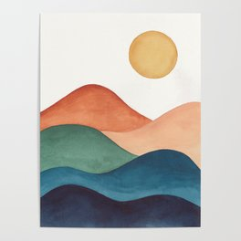 Colorful Abstract Mountains Poster