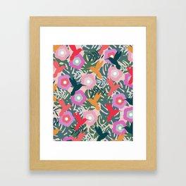 Happy hummingbirds Framed Art Print