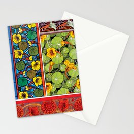 Nasturtium Art Nouveau Flower Tiles Stationery Cards