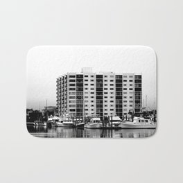 Waterfront Condos In Black & White Bath Mat