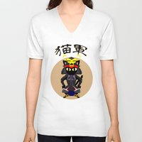 army V-neck T-shirts featuring Cat Army by BATKEI