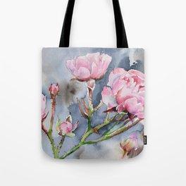 Spring Pink Roses and a Dark Sky Tote Bag