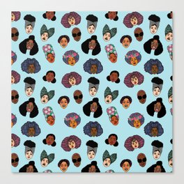 Black Hair Magic - Blue Canvas Print