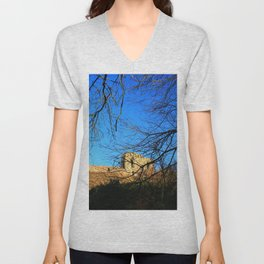 Castle Ruins on a Sunny Winters Day Unisex V-Neck