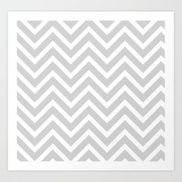 Chevron Stripes : Gray & White Art Print