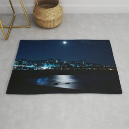Wolf Moon Rising Over Blue Waters Rug