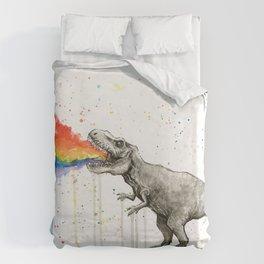 T-Rex Dinosaur Vomits Rainbow Bettbezug