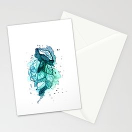 Green frozen leaves Stationery Cards
