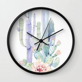 Mixed Cacti 2 #society6 #buyart Wall Clock
