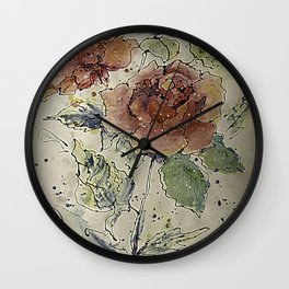 watercolor Rose #6 Original Painting by OLena Art Wall Clock