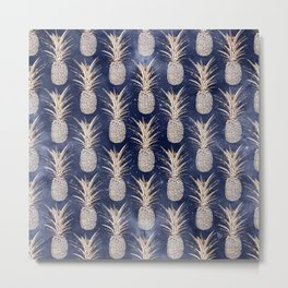 Modern Golden pineapples nebula pattern Metal Print