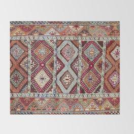 Gaziantep  Antique Turkish Rug Print Throw Blanket