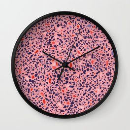 Terrazzo pink red blue Wall Clock