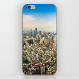 Aerial view and cityscape of Taipei, Taiwan iPhone Skin