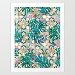 Muted Moroccan Mosaic Tiles with Palm Leaves Art Print