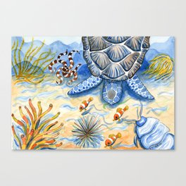 Sea Turtle - Bottom of the Sea Watercolor Painting Canvas Print