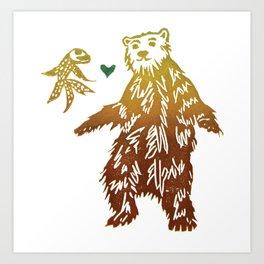 Toss Your Bear A Goldfish Art Print