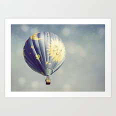 Moon and Stars Hot Air Balloon Art Print