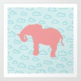 Pink Elephant and clouds , nursery decor Art Print