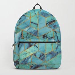 Blue Marble Hexagonal Pattern Backpack