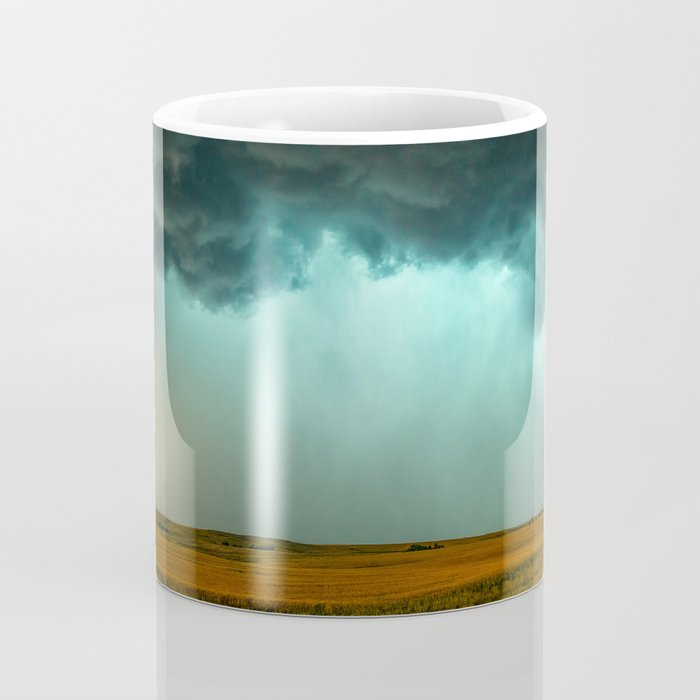 Open the Heavens - Panoramic Storm with Teal Hue in Northern Oklahoma Coffee Mug
