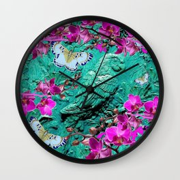 PURPLE ORCHIDS BUTTERFLIES TURQUOISE TROPICAL MACAW PARROT Wall Clock