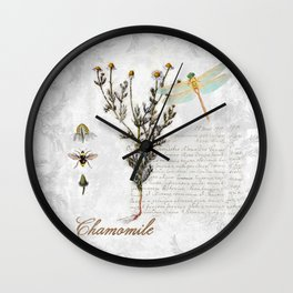 Chamomile Herb, Dragonfly Bumble Bee Botanical painting, Cottage style Wall Clock