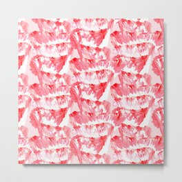 Artsy Coral Red White Abstract Floral Paint Art Metal Print