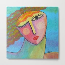 Colorful Abstract Portrait of a Woman Metal Print